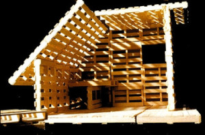 Maison de palettes ou d'un abri pour refugies
