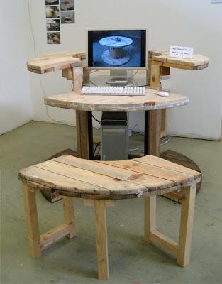 Bauen Sie ein Computer-Desktop mit einem hölzernen Kabeltrommel