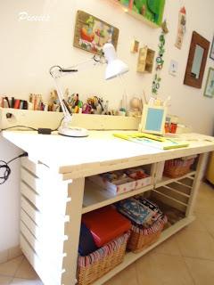 Bureau composé de palettes en bois re-recyclé8