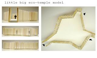 Conception architecturale dun temple faite avec des palettes6
