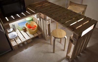 Table et meubles de cuisine de palettes avec un clairage for Table de cuisine rangement