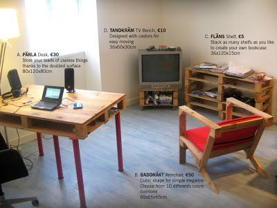 mobilier de style ikea faite avec des palettesmeuble en. Black Bedroom Furniture Sets. Home Design Ideas