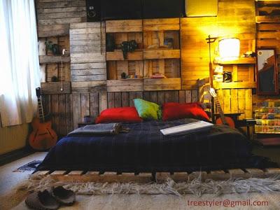 Pas cher chambre pour les enfants faite avec des - Chambre en palette ...