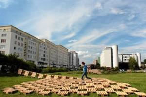 Brodno parc à thème construit avec des palettes en Targowek , Varsovie