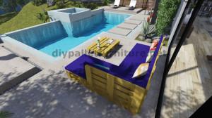 Instructions et plans 3D de la façon de faire un canapé pour le jardin avec des palettes 10