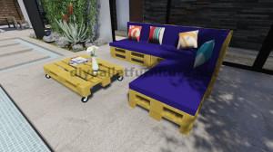 Instructions et plans 3D de la façon de faire un canapé pour le jardin avec des palettes 12