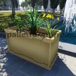 Instructions et dessins 3D de la façon de faire une jardinière avec des palettes