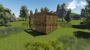 Plans 3D pour la construction d'une cabine ou d'un magasin de palettes 11