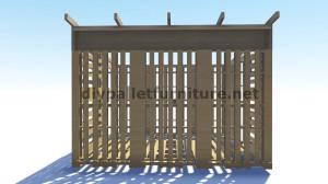 Plans 3D pour la construction d'une cabine ou d'un magasin de palettes 3