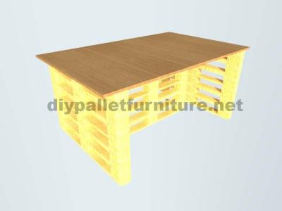 Schreibtisch mit Europaletten Enden 5