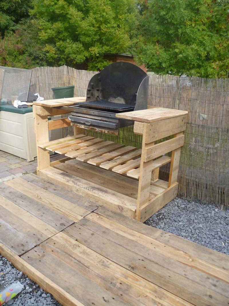 Outdoor bar made from pallets memes for Meuble patio palette