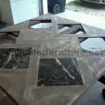 Tables créées avec des morceaux de palettes