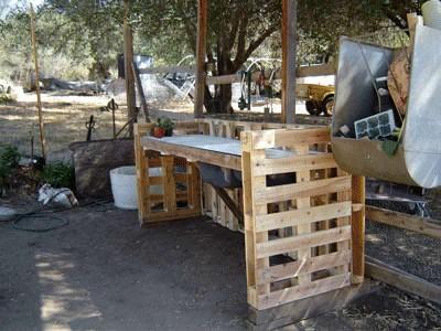 Wie man eine Arbeitsecke für Ihren Hof mit Paletten bauen  2