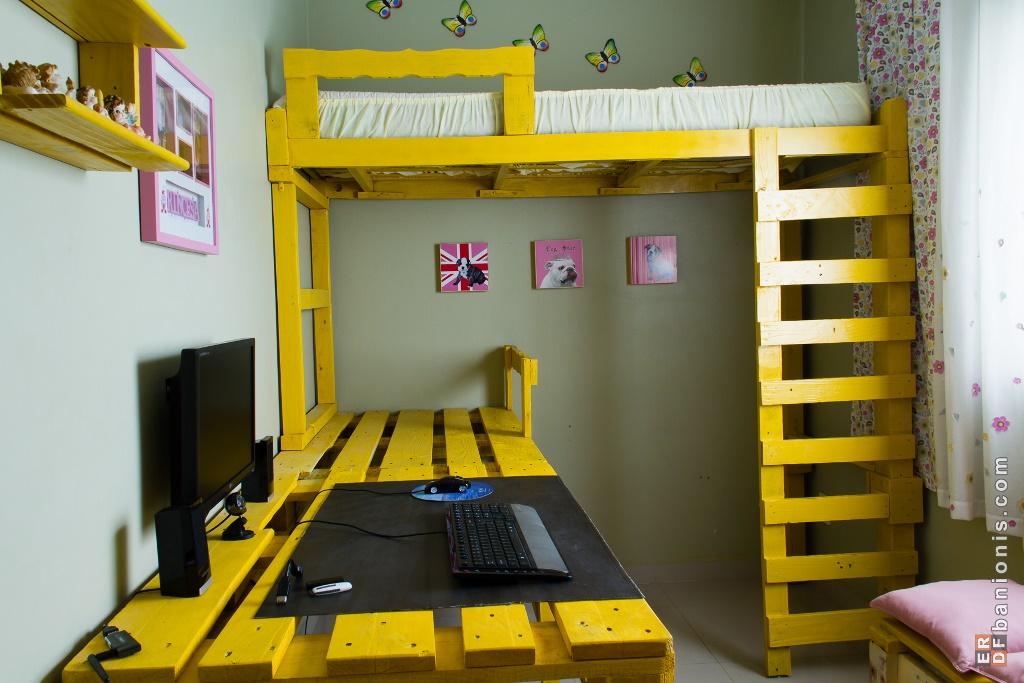 Gagner de l espace dans votre chambre avec cette solution lit mezzanine avec des palettesmeuble - Fabriquer un lit mezzanine 2 places ...
