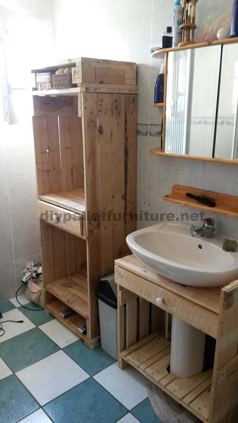 Estanteria Para Baño Con Palets:Meubles de salle de bains fabriqués entièrement à partir de