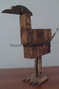 Sculptures d'oiseaux réalisés avec des blocs de palettes et planches3