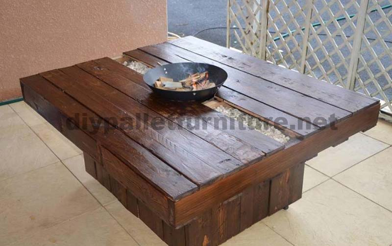 table basse brasero fait du pallete pour le jardinmeuble en palette meuble en palette. Black Bedroom Furniture Sets. Home Design Ideas