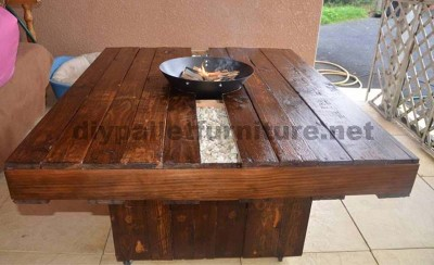table basse brasero fait du pallete pour le jardinmeuble en palette meuble en palette. Black Bedroom Furniture Sets. Home Design Ideas