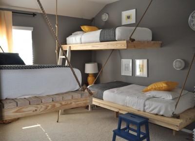 8 idées de lit superposés faits entièrement avec des palettes6