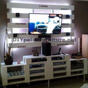 Meuble tv int gr avec des palettesmeuble en palette meuble en palette - Paletten wohnzimmer ...