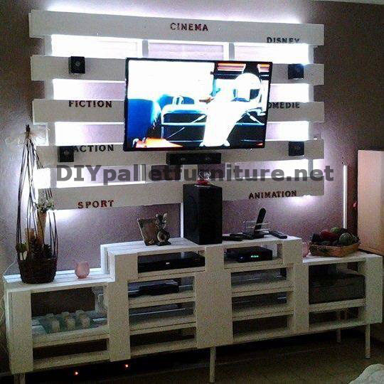 meuble tv int gr avec des palettesmeuble en palette. Black Bedroom Furniture Sets. Home Design Ideas