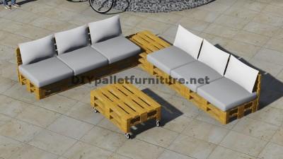 Conception de canapé d'angle avec table construit en utilisant les palettes 1