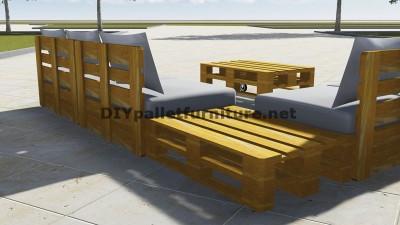 Conception de canapé d'angle avec table construit en utilisant les palettes 3