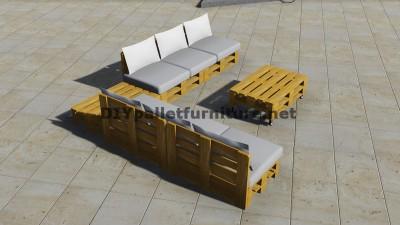 Conception de canap d angle avec table construit en - Fabriquer canape d angle en palette ...