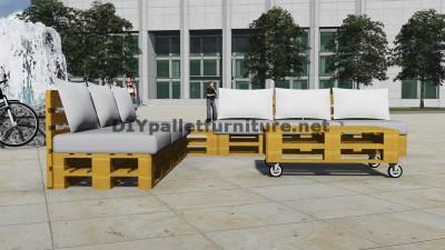 Conception de canapé d'angle avec table construit en utilisant les palettes 5
