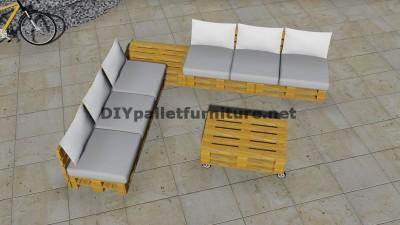 Conception de canapé d'angle avec table construit en utilisant les palettes 6