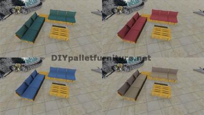Conception de canapé d'angle avec table construit en utilisant les palettes 7