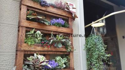 Décor urbain utilisant planteurs de palettes 1