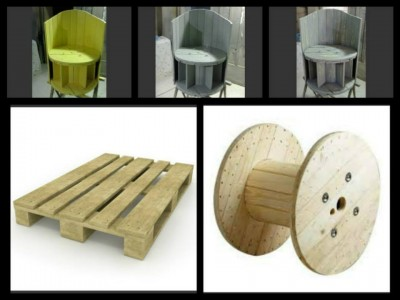 Fauteuil construit en utilisant une bobine de câble en bois et deux palettes 2