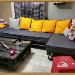Salon entièrement meublé avec palettes