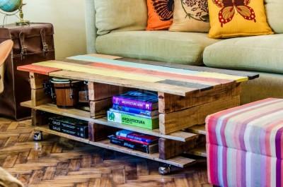 Soulevez table basse avec des palettes 2