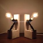 Lampes de chevet faites avec des palettes