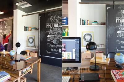Bureau de producteur de publicité et films meublé avec palettes 2