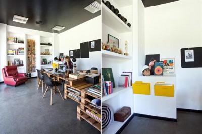 Bureau de producteur de publicité et films meublé avec palettes 4