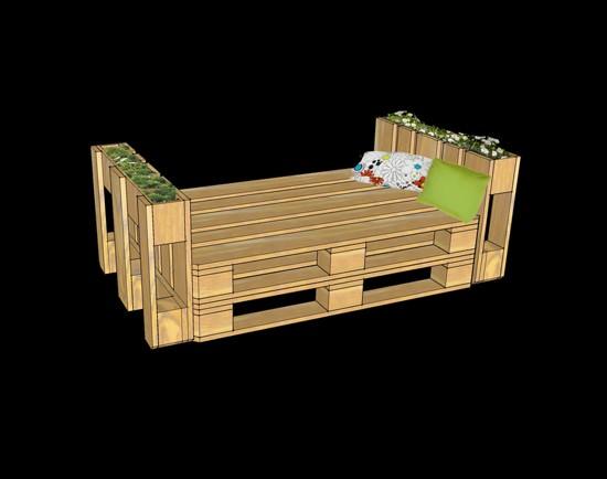 3D plans pour fournir un bureau avec palettes 7