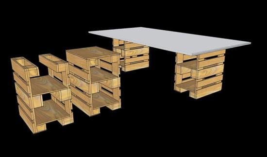 3D plans pour fournir un bureau avec palettes 9