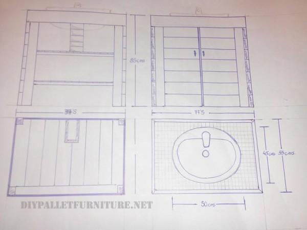 Cabinet pour l vier de la salle de bain fait avec for Cabinet de salle de bain