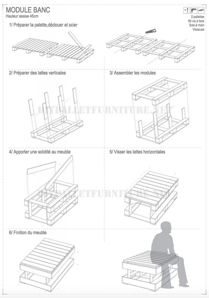 Plans pour construire des bancs de palettes modulaires 3