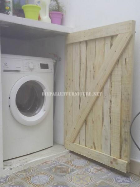 Porte pour cacher la machine à laver faite avec palettes planches 2