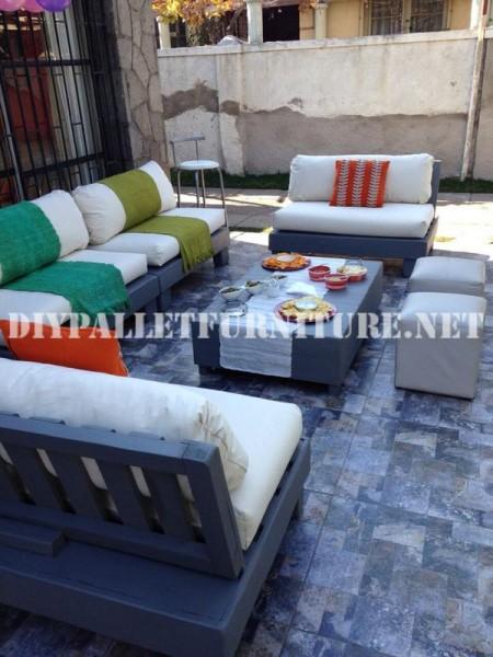 Set de meubles avec des palettes pour la terrasse 7