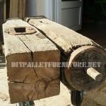 Table basse faite d'un morceau d'un moulin corse