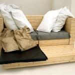 Canapé, lit et bureau, 3 pièces de mobilier à 1