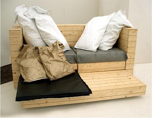 Canapé, lit et bureau, 3 pièces de mobilier à 1 1