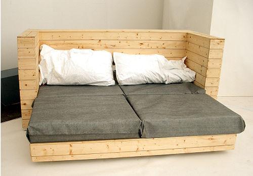 Canapé, lit et bureau, 3 pièces de mobilier à 1 2