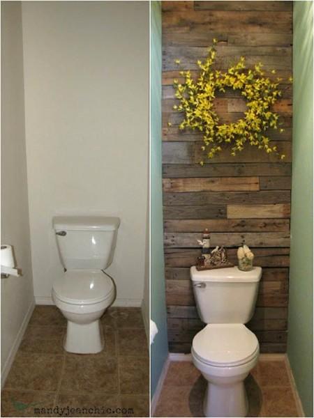 Salle de bains carrelée avec des palettes 1