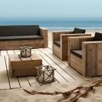Set de meubles avec des palettes pour la plage